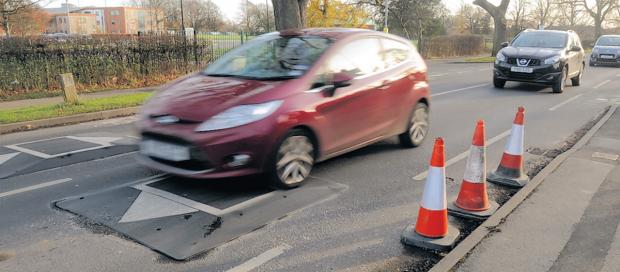 Traffic calming measures being installed