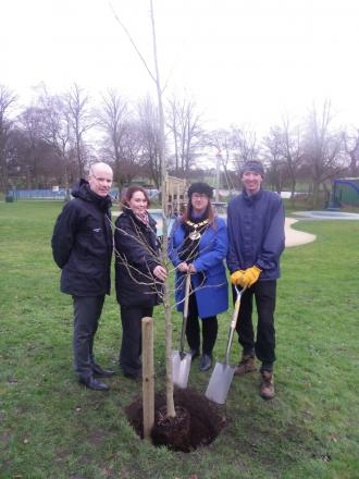 Carl Horsdal landscape architect, Siobhan Royle parks conservation partnership officer, Halton Mayor Clr Margaret Ratcliffe, and parks conservvation volunteer, Adam Jones