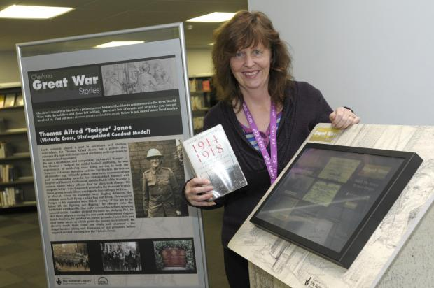 Maria Hardie at the WWI kiosk