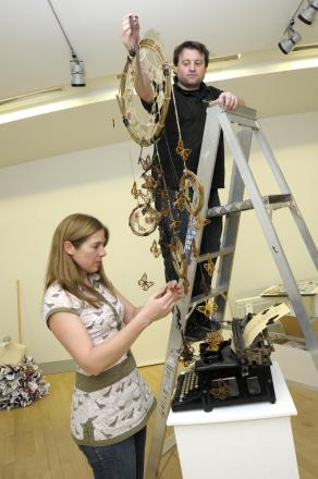 Louise Hesketh and Paul Street set up the Typewriter Butterfly Dreamcatcher Me designed by Tula Wild from Wade Deacon