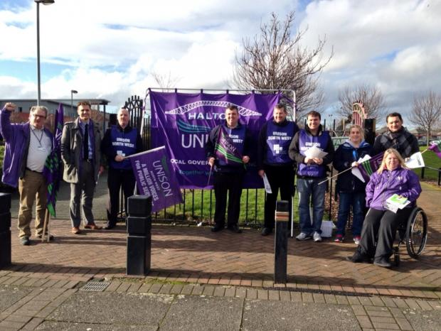 Halton Unison reps and workers mounting a protest today for fair pay and funding