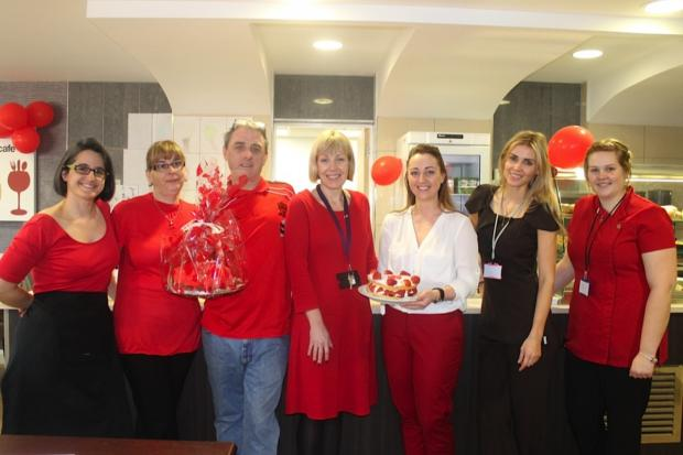Staff and customers at Naughton Fields go red to raise £2,000 for the British Heart Foundation