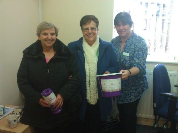 From left, Val Edwardson and Barbara Spruce present Jan Gray with Barbara's £1,450 birthday gift