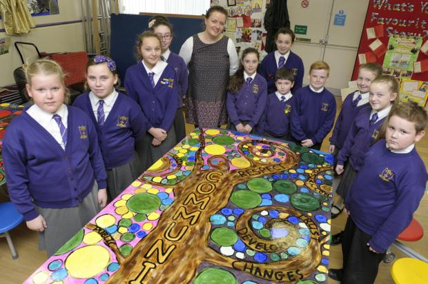 Artist Natalie McGahan working with pupils at St Gerard's RC Primary School