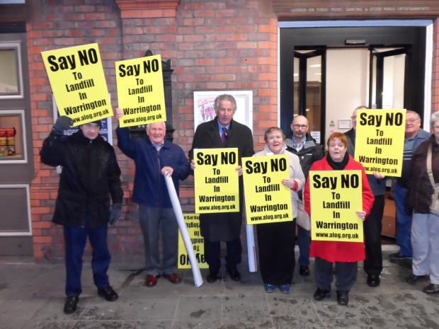 David Mowat MP, third from left, with Arpley protestors