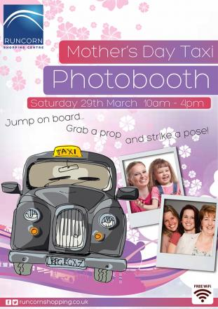 Mums invited to have fun in a taxi photobooth in Runcorn