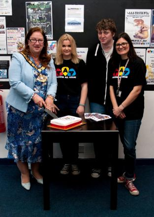 The Mayor of Halton, Clr Margaret Ratcliffe, Megan Culliford, James Swift, and Louise Nulty