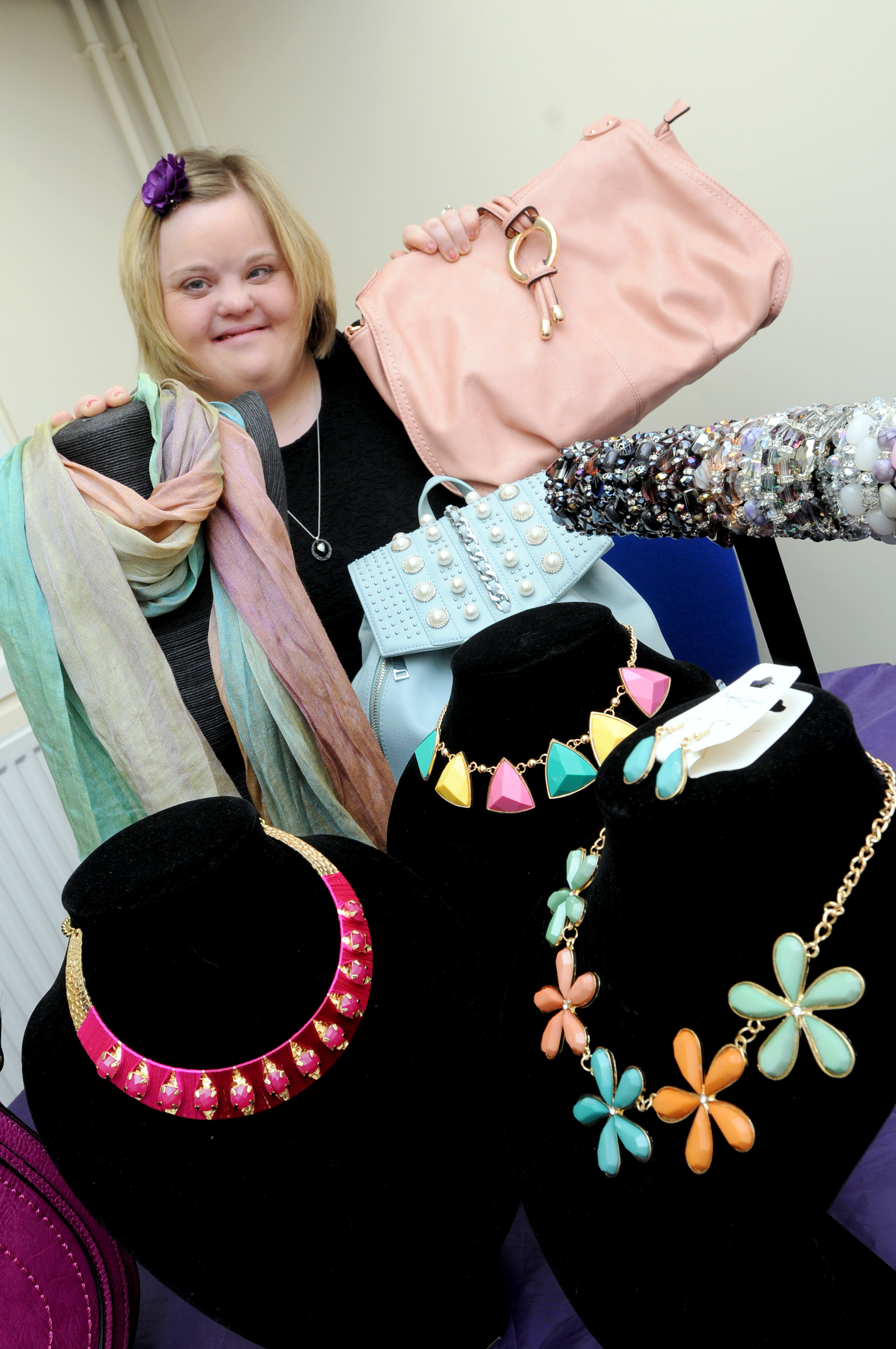 Laura Green prepares her stall for Widnes Market