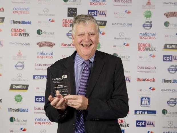 Tony Bamber receives the award at a ceremony in Manchester
