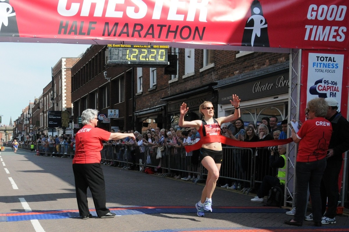 Runcorn runner is first woman to cross the line in the Chester Half Marathon