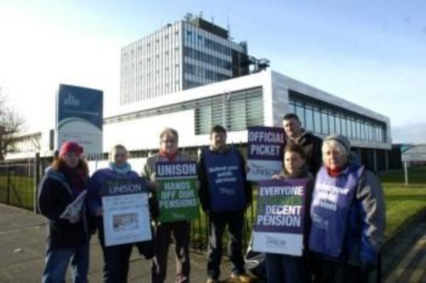 Halton Council Unison members at an earlier strike. Pickets are expected outside council buildings on Thursday