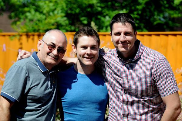 Runcorn and Widnes World: Eric Robinson with his sons, Robert and Gary
