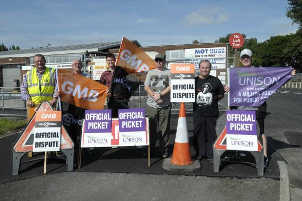 Runcorn and Widnes World: Striking council staff outside the Lowerhouse Lane depot