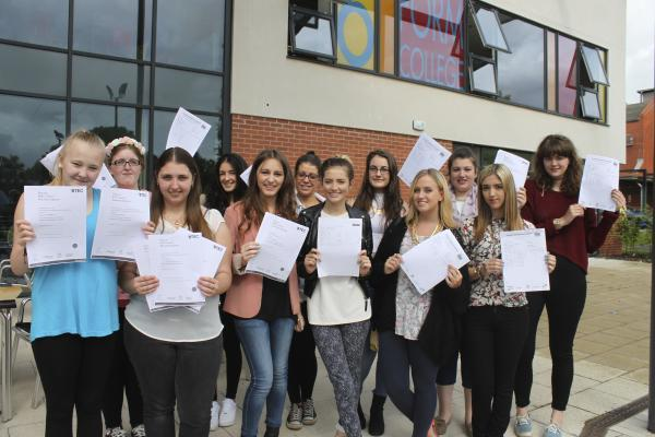 Some of the students celebrating at Ormiston Bolingbroke Academy