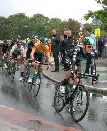 Sir Bradley Wiggins cycling in a previous Tour of Britain