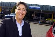 Mel Pickup, chief executive outside Halton Hospital