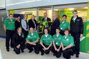Lord Lieutenant of Cheshire David Briggs with first aid trainers at the opening of St John Ambulance pop-up training centre