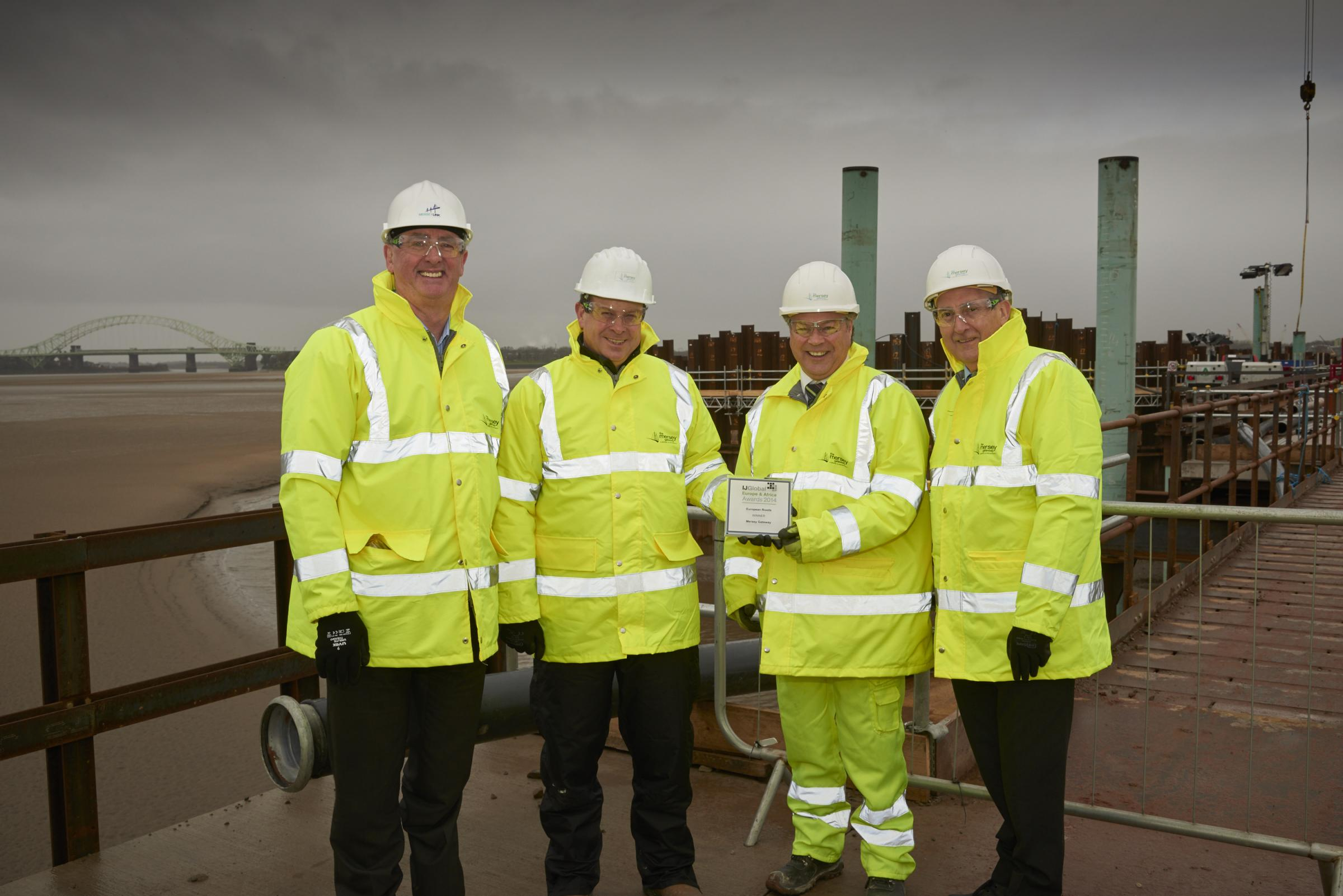 Hugh O'Connor, general manager Merseylink, Richard Walker, project director Merseylink, David Parr, chief executive Mersey Gateway Crossings Board, Rob Polhill, Halton Council leader and chairman Mersey Gateway crossings board