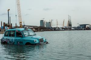 PICTURED: Floating taxi spotted on Thames near The O2 Greenwich