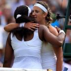 Runcorn and Widnes World: Victoria Azarenka, right, slipped to a 3-6 6-2 6-3 defeat in her quarter-final clash with Serena Williams