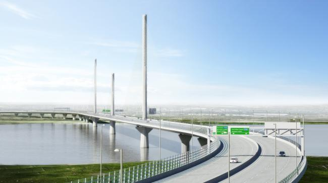 An artist's impression of the how the completed Mersey Gateway will look