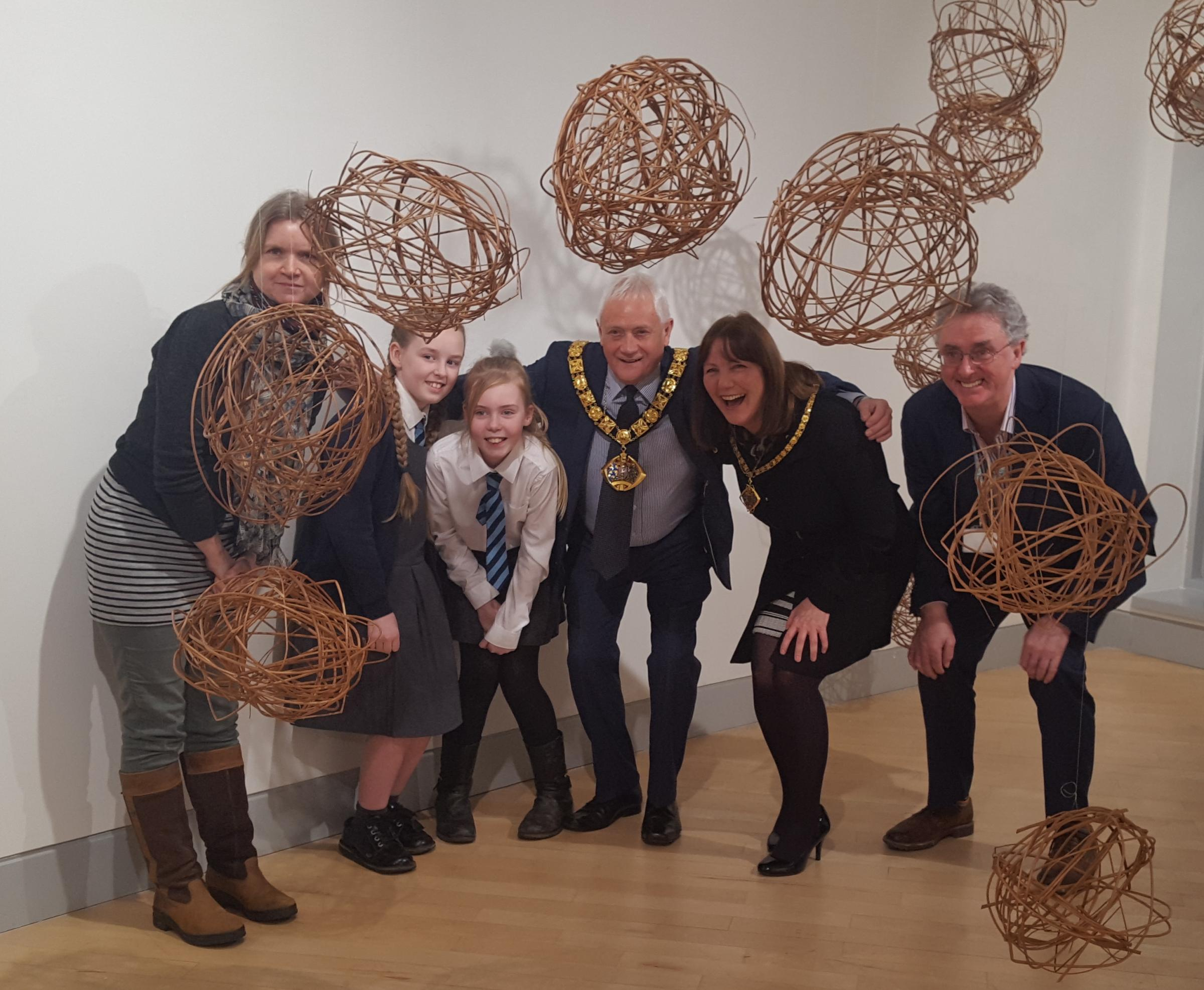 Artist Angela Sidwell, Hannah Yoxall, 11, from The Brow Community Primary, Faye Done, 10, from The Brow Community Primary, Mayor of Halton Cllr Ged Philbin, Mayoress Ros Wong and Hugh O'Connor