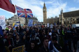 Thousands of Brexit protesters pay silent tribute to Westminster attack victims