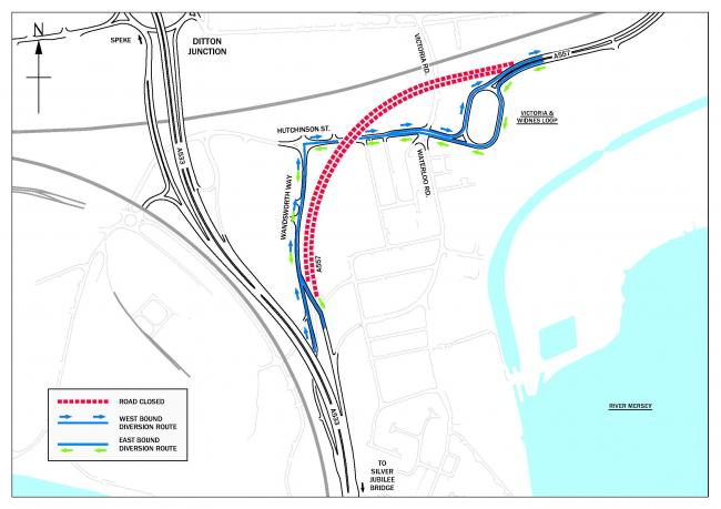 Traffic will diverted via the new Widnes Loops roundabout, Hutchinson Street and Wandsworth Way