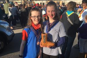 Amelia Lindop, 11,  and Alyse Cheesman, 14, win the intermediate section of the Cheshire Hike for Cheshire Forest