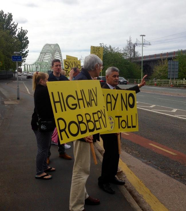 Protestors at a bridge toll protest organised by UKIP earlier this year