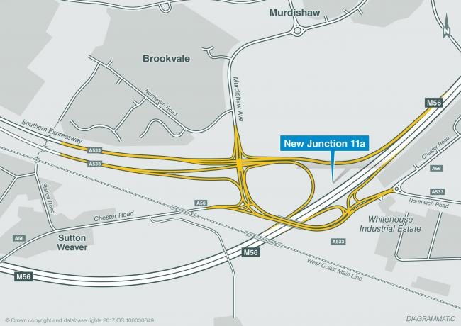 Proposed new junction 11a on the M56 in Runcorn