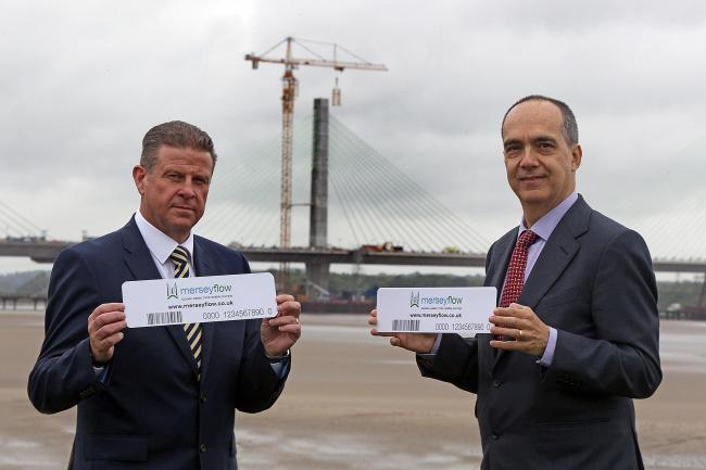 David Parr, chief executive of Halton Council and Anthony Alicastro, chief executive officer of Emovis Operations (Mersey) Limited urge drivers who use the bridge regularly to register with Merseyflow for discounts