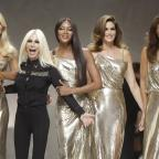 Runcorn and Widnes World: From left, Claudia Shiffer, Donatella Versace, Naomi Campbell, Cindy Crawford and Helena Christensen on the catwalk at the end of the Versace women's Spring/Summer 2018 fashion collection, presented in Milan, Italy, Friday, Sept. 22, 2017. (AP Photo/Luc