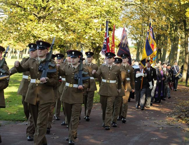 The Mercian Regiment marching through Victoria Park in Widnes with veterans on Remembrance Sunday. Picture: Barry Miller