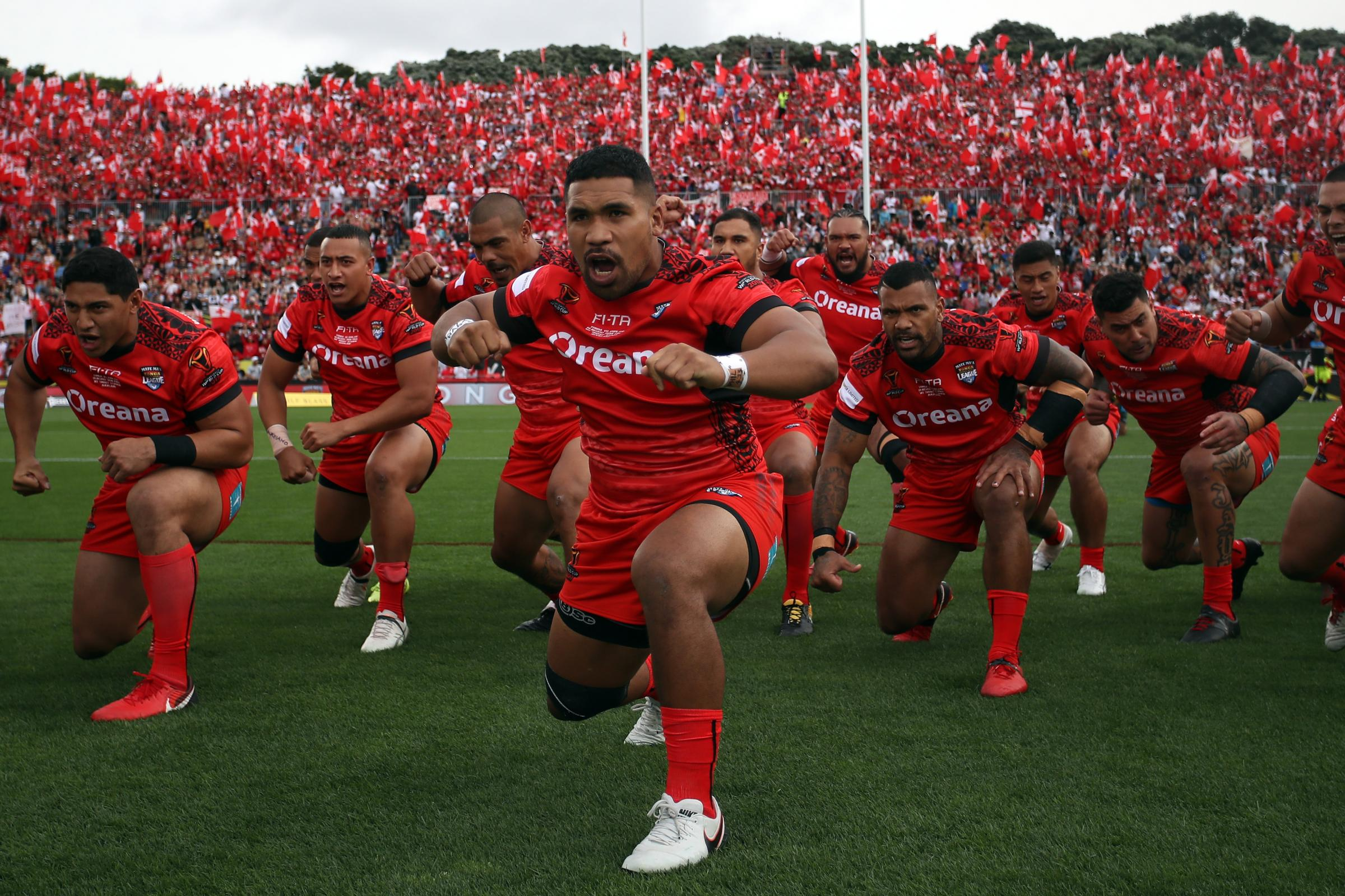 Tonga pre-match in the World Cup semi final. Pic: NRL Photos