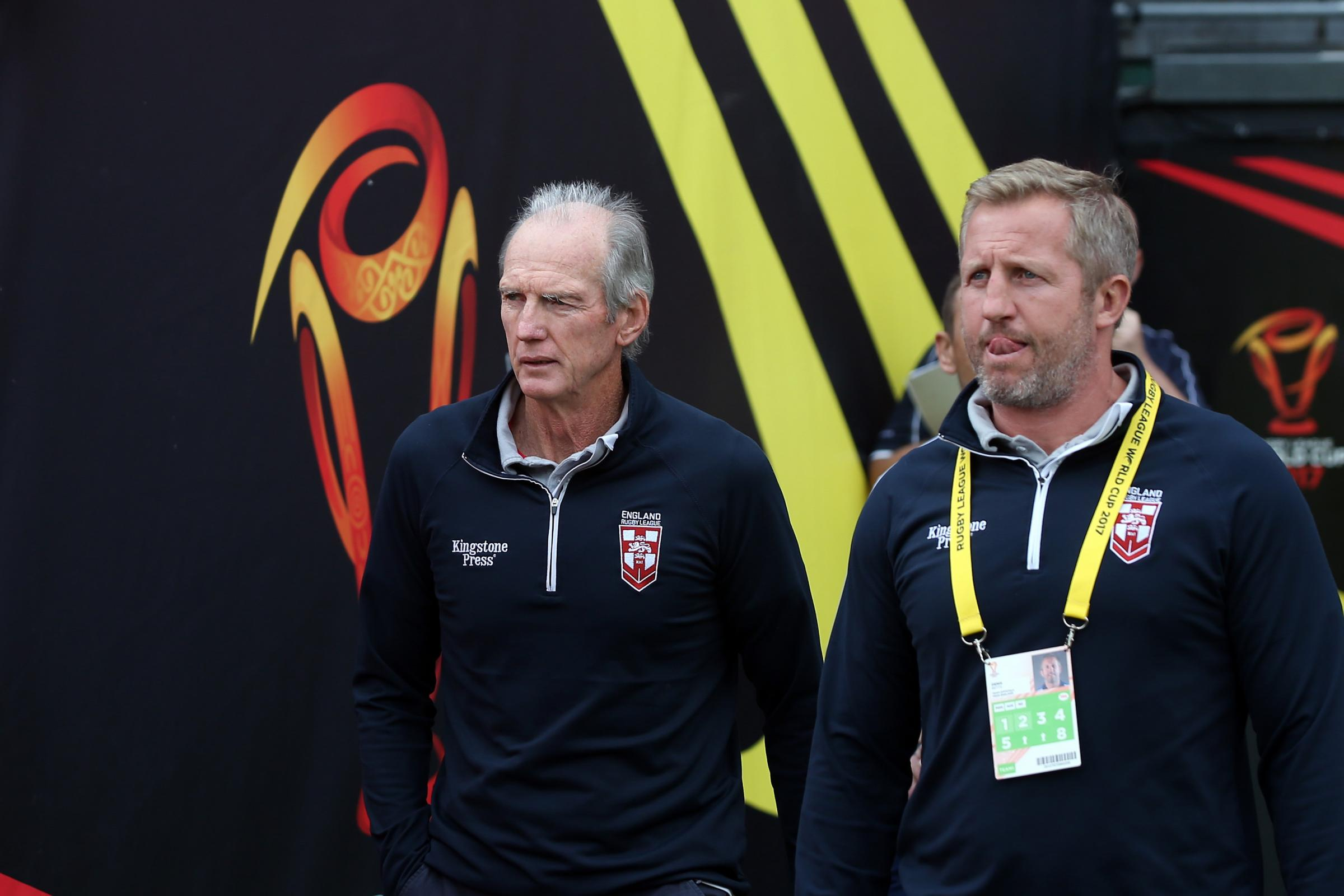 Wayne Bennett and assistant Denis Betts. Pic: NRL Photos