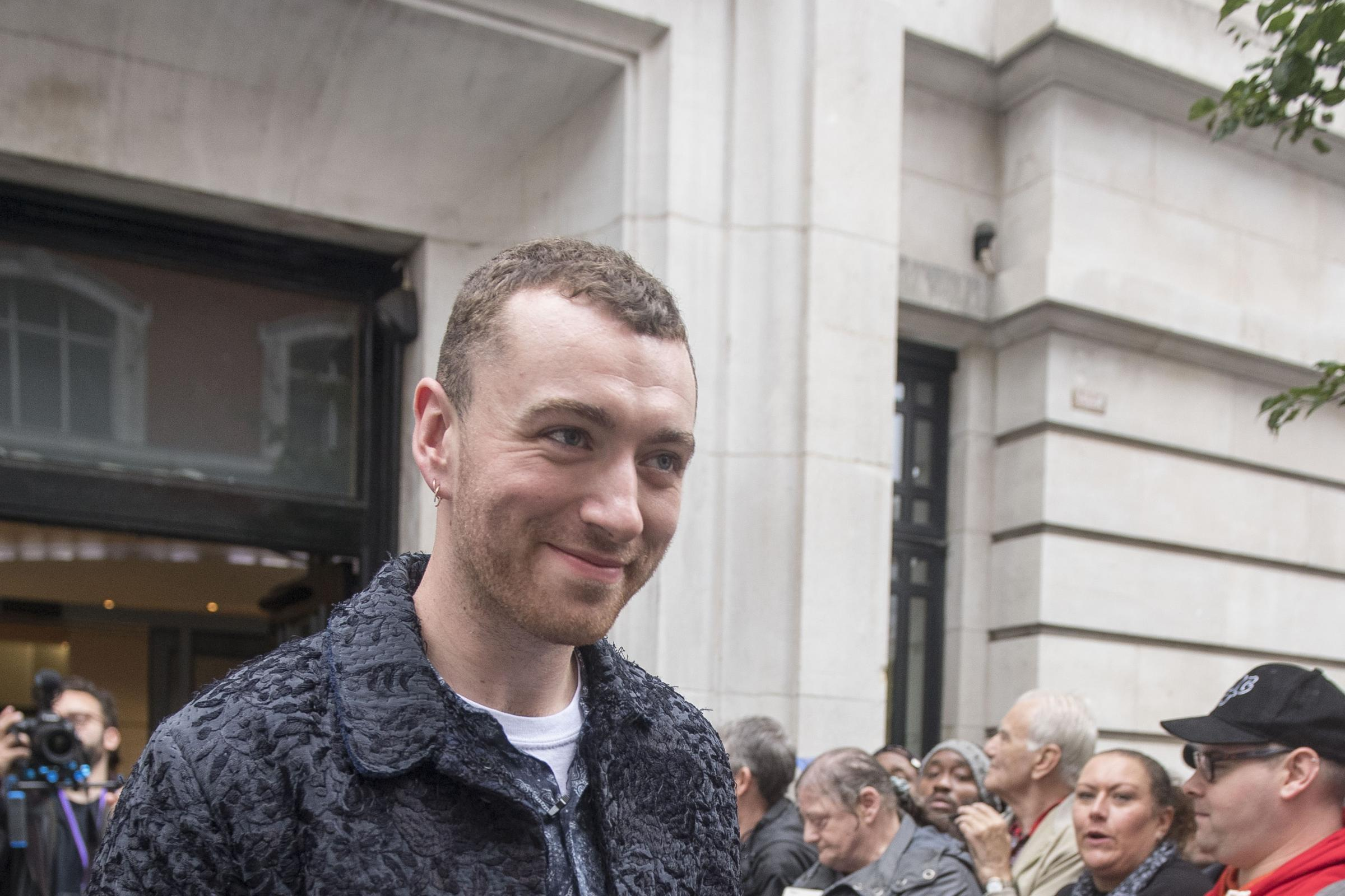 Sam Smith outside BBC Broadcasting House in London, where he appeared on on BBC Radio 2.
