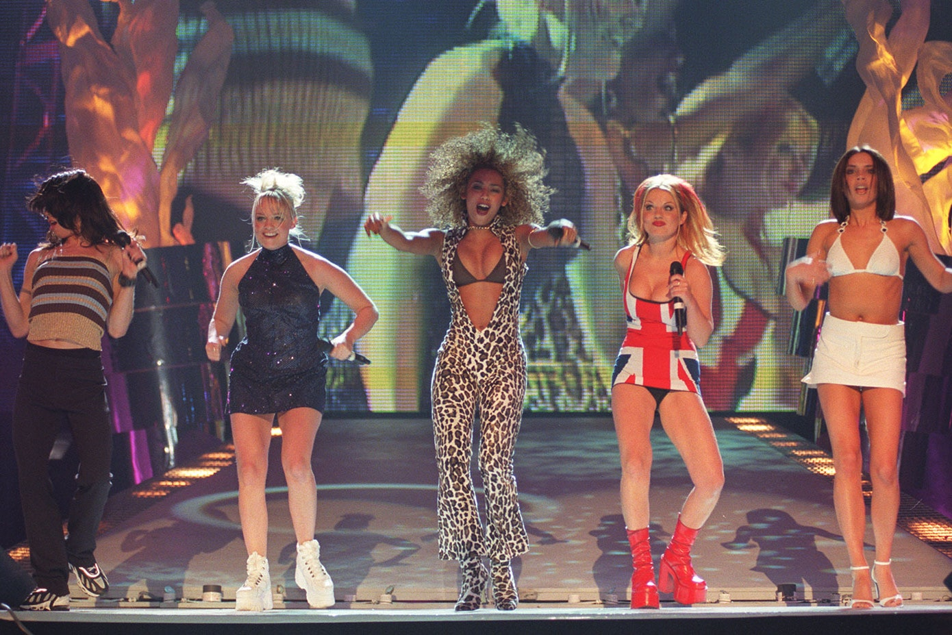 The Spice Girls performing at the Brit Awards (Fiona Hanson/PA)