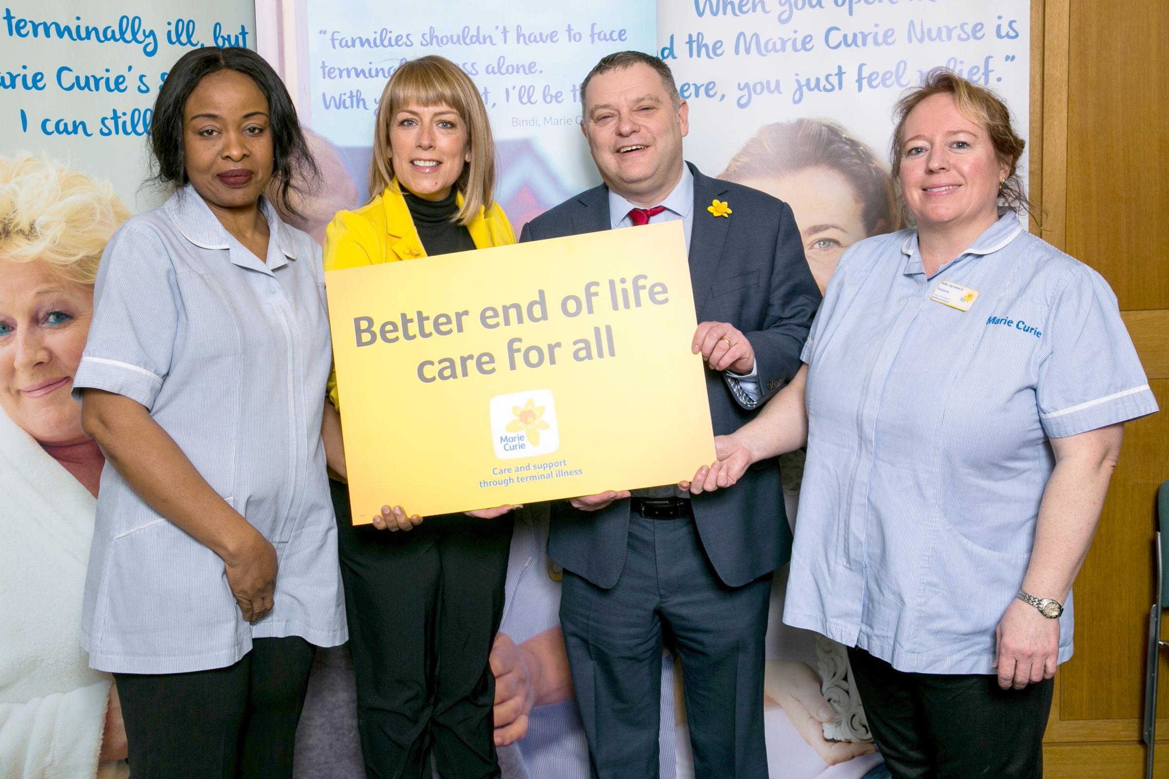 Weaver Vale MP Mike Amesbury joins Cold Feet TV star Fay Ripley and Marie Curie nurses Victoria Shodeko and Victoria Oluwalogbon to launch the charity's Great Daffodil Appeal