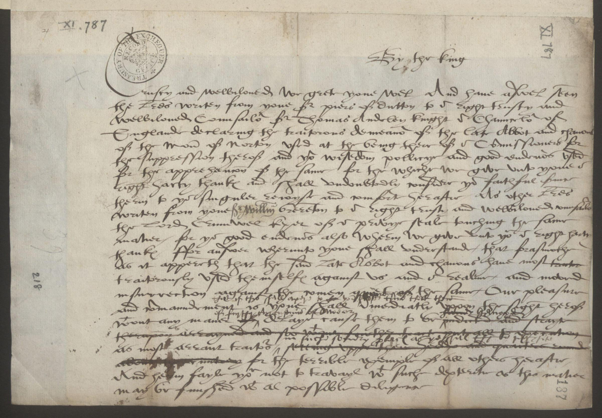 A 16th century draft letter demonstrating King Henry VIII's infamous temper goes on display at Norton Priory from May 5