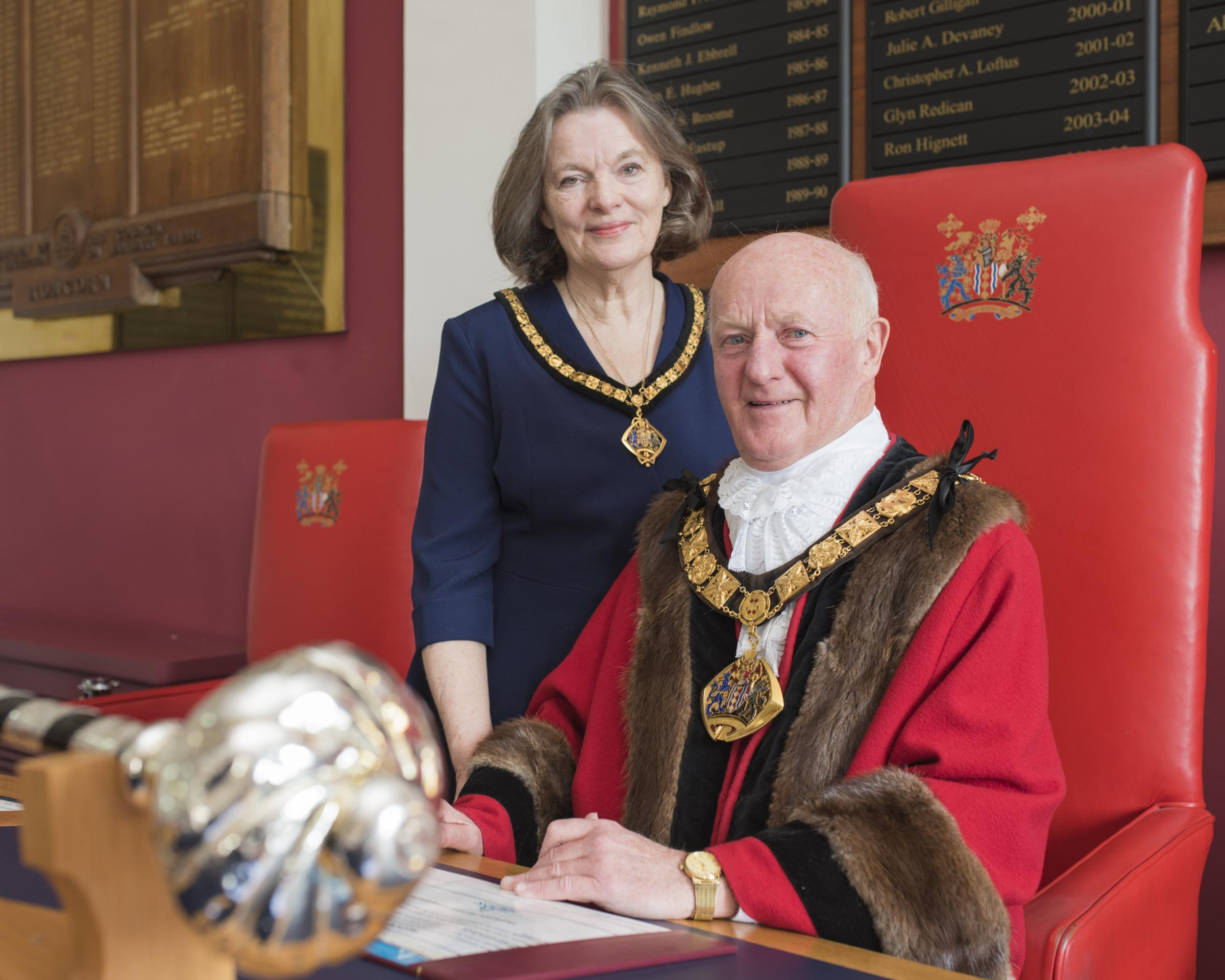 The new mayor and mayoress of Halton Cllrs John and Marjorie Bradshaw