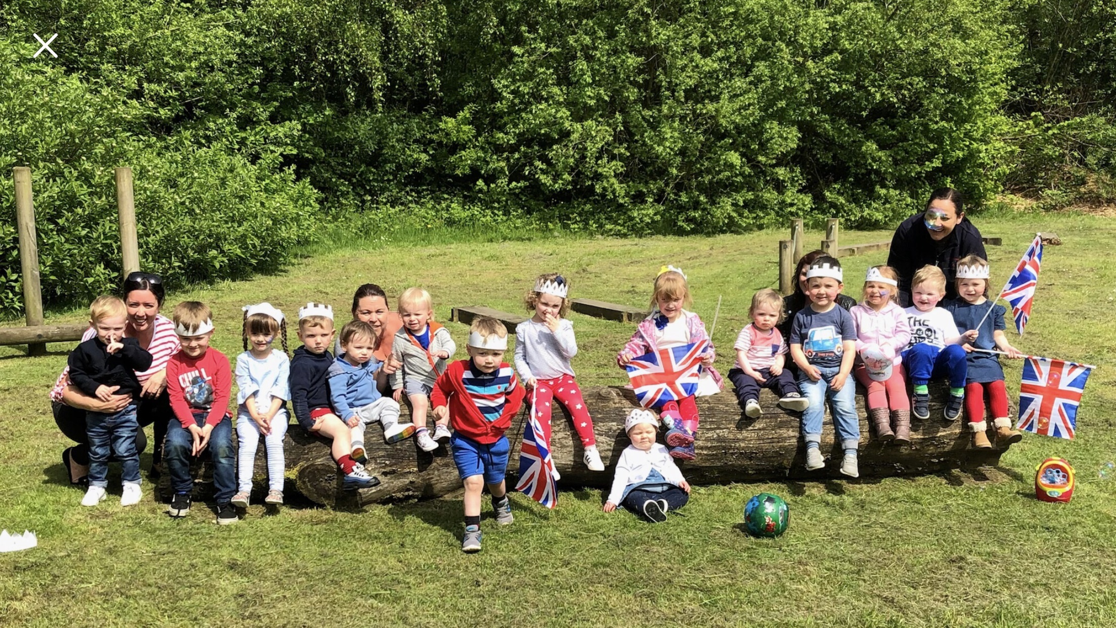 Children looked after by Halton childminders enjoy a picnic in Town Park to celebrate the royal wedding