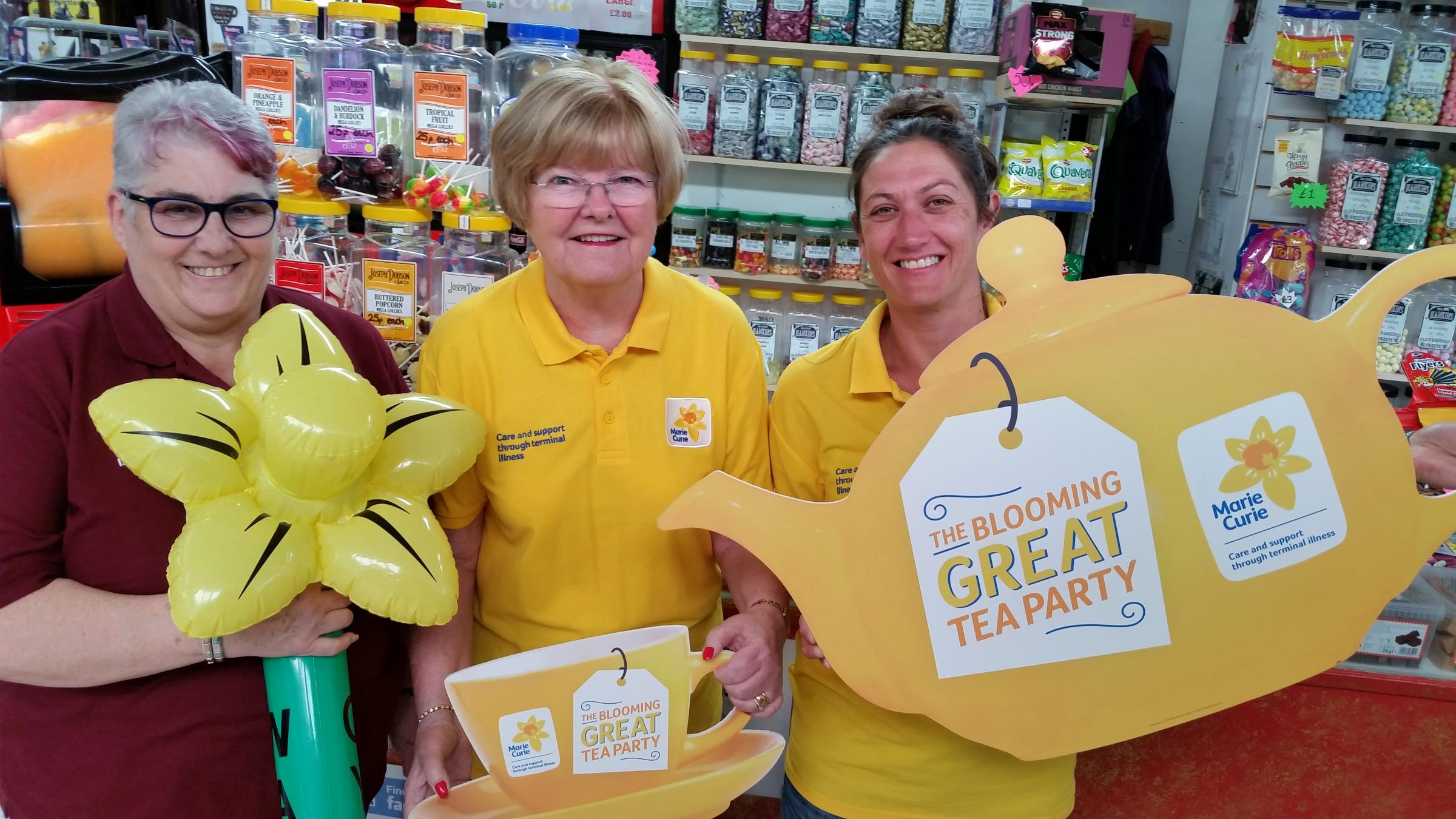 Chris Grice, Lorna Cannell and Debbie Hankin invite people to throw a tea party and raise funds for Marie Curie