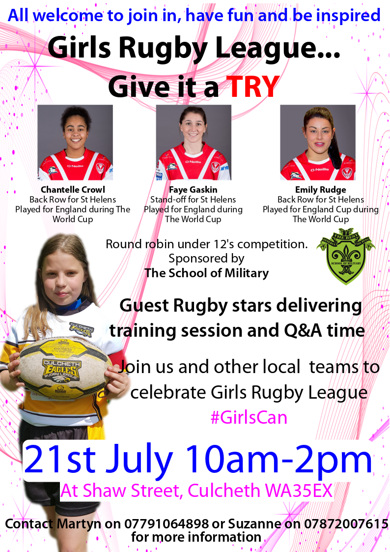 Promoting Girls rugby league.