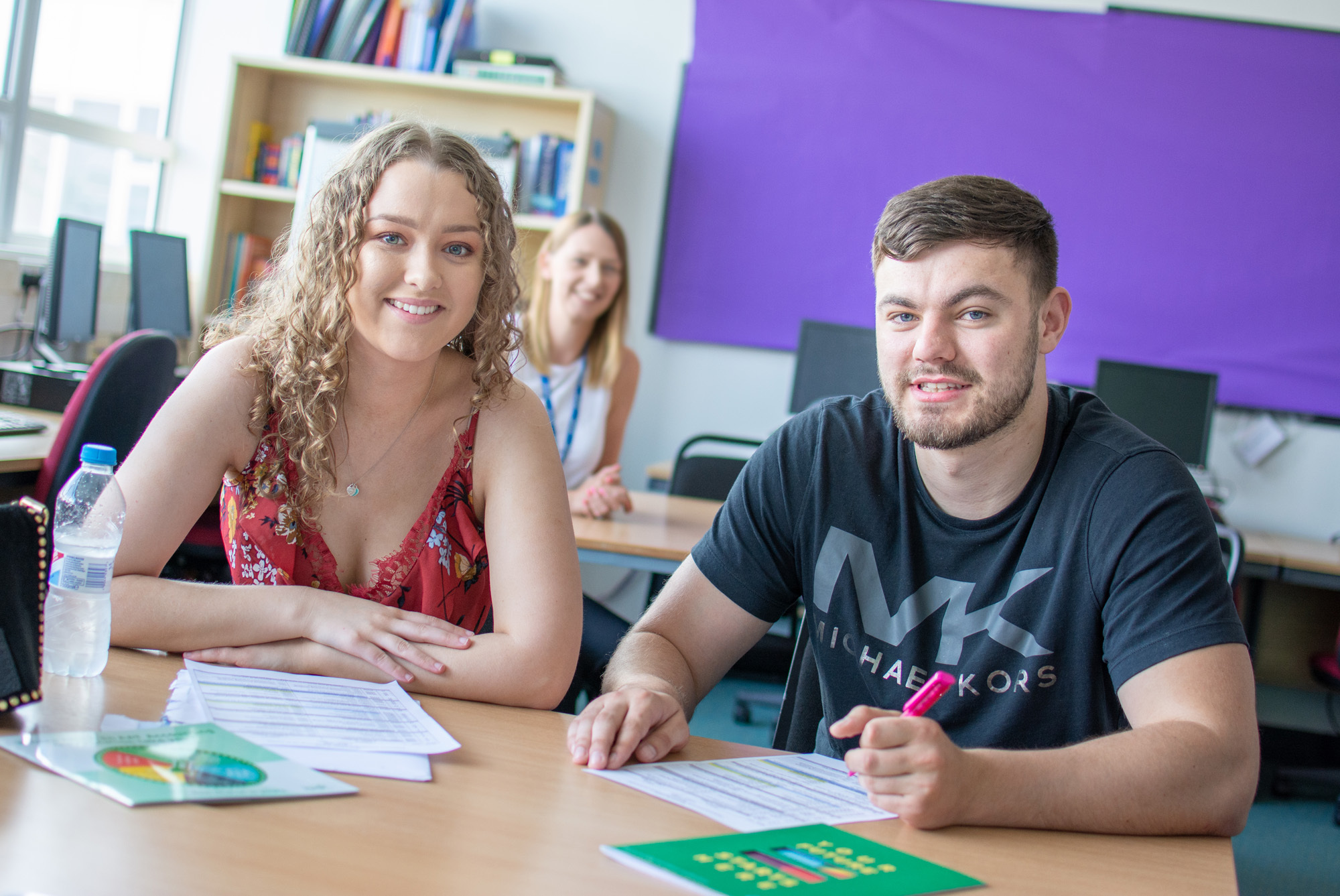 Ella Whitfield and Luke Purcell are the first students to enrol on a new accounting diploma at Riverside College