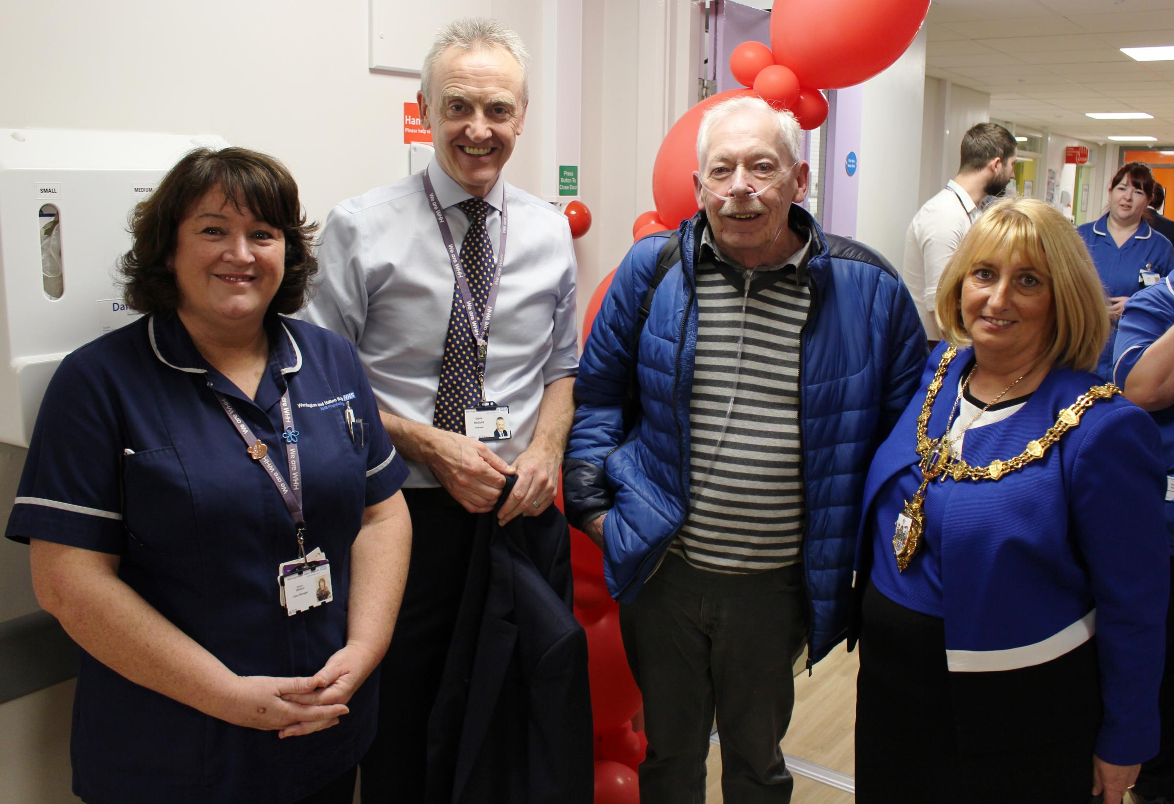 From left; ward manager Alison Williams, trust chairman Steve McGuirk, patient Ian Williams and the Mayor of Warrington Cllr Karen Mundry at the opening of Warrington Hospital's new acute cardiac care unit.