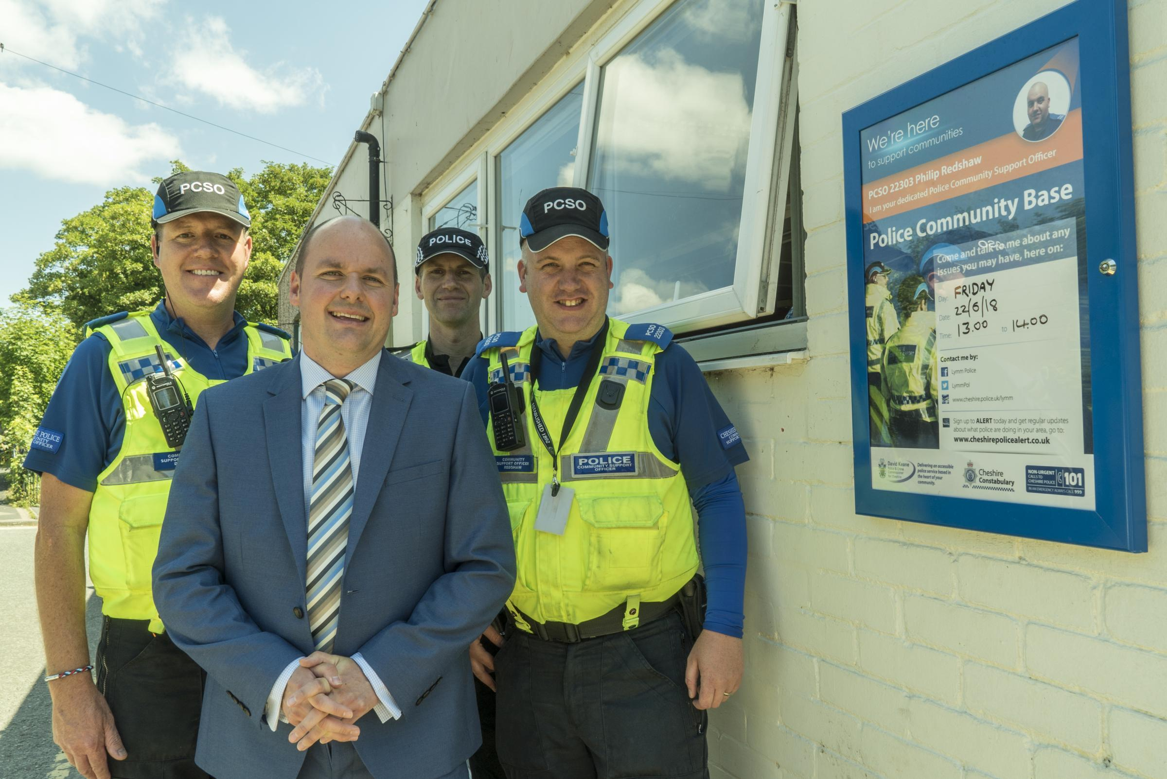 PCSO Daren Dennis, PCC David Keane, Sgt Gareth Kerr and PCSO Philip Redshaw at a community base launch in 2018