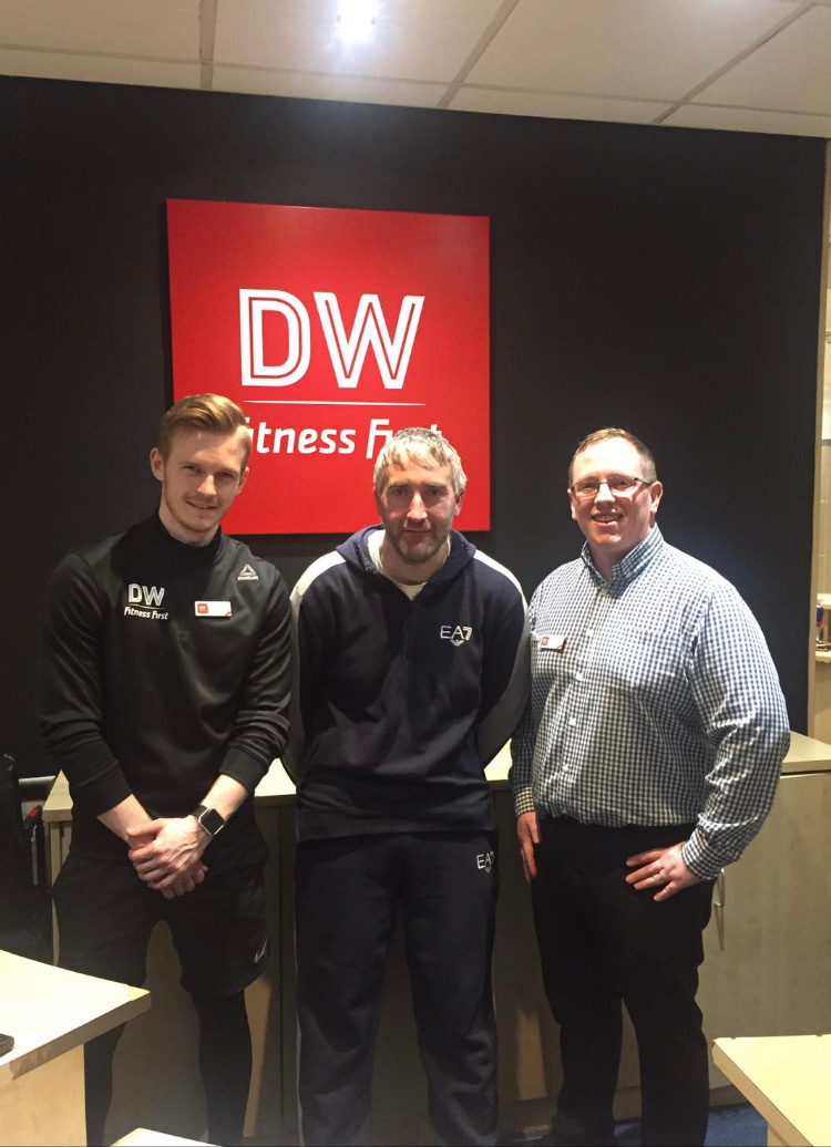 DW Sports Fitness trainer Dave Cooper with Brian Freeston and Luke Pennock, who are taking part in a 49-mile sponsored walk