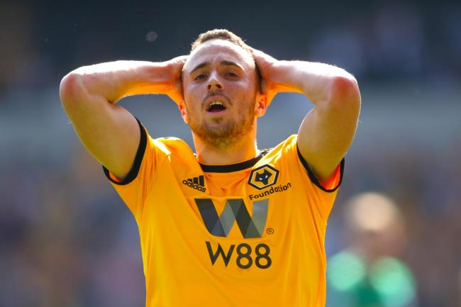 Diogo Jota twice hit the woodwork for Wolves