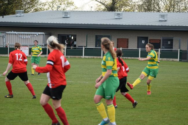 Linnets Ladies in action in an earlier game against Egerton. Pic: Neil Thornton